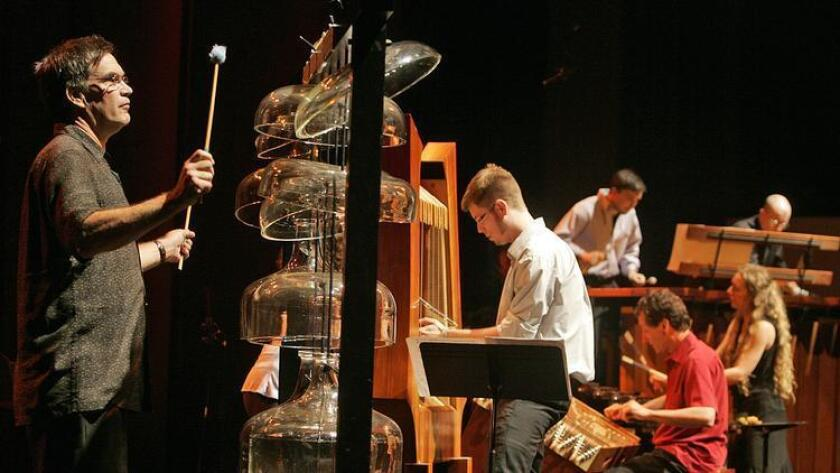 Members of the Partch percussion ensemble performing at the Broad Stage in Santa Monica in 2008.