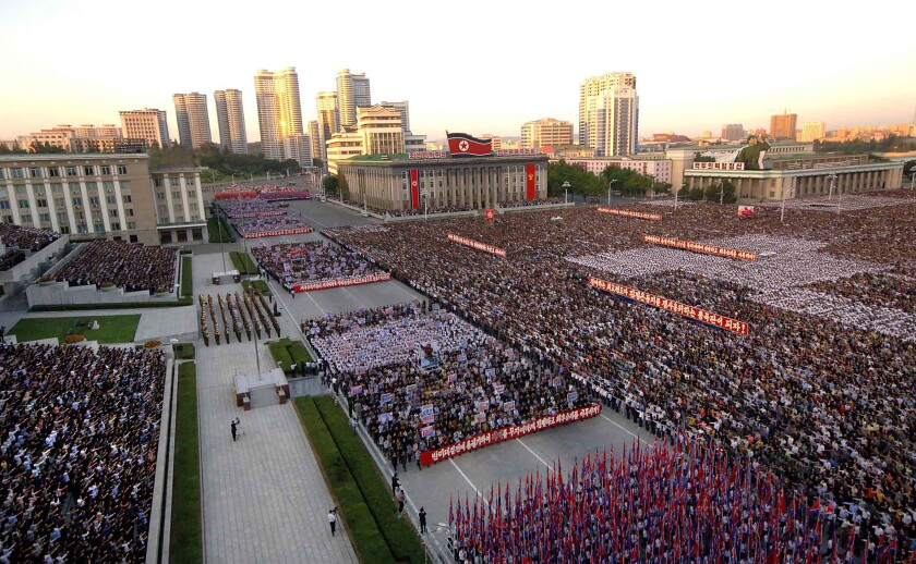 This September 23, 2017, photo released by North Korea's official Korean Central News Agency shows an anti-U.S. rally in Kim Il Sung Square in Pyongyang. — Photograph: Agence France-Presse/via Getty Images.