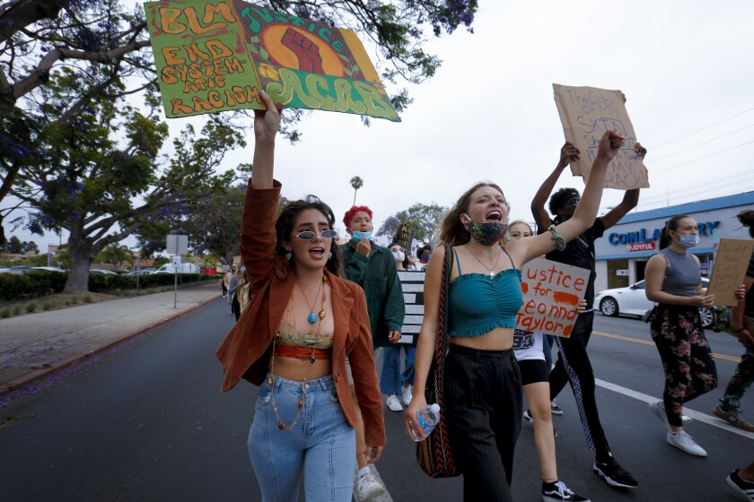 Youth-led 'Black Lives Matter' rally draws hundreds to Mount Soledad.