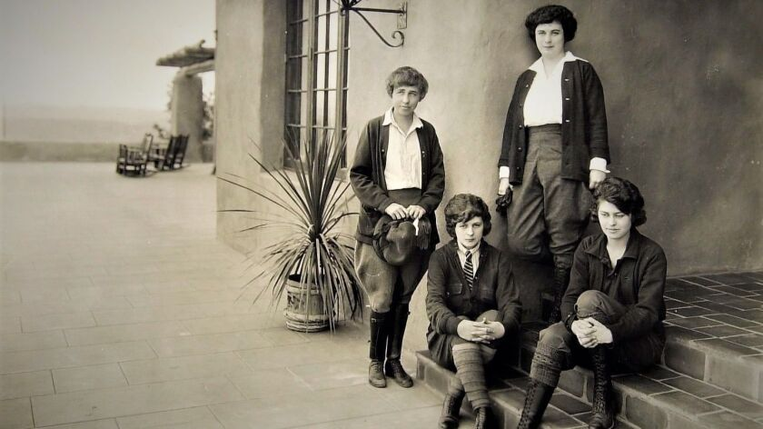 Woman at left is Architect Lillian Rice. Photo was taken at the La Mirada which is now the Rancho Sa