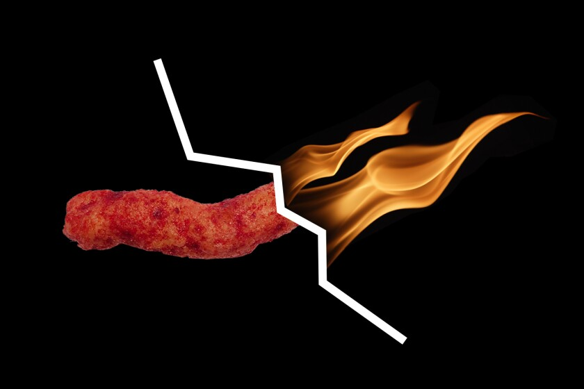 Illustration of a Hot Cheeto chip on fire