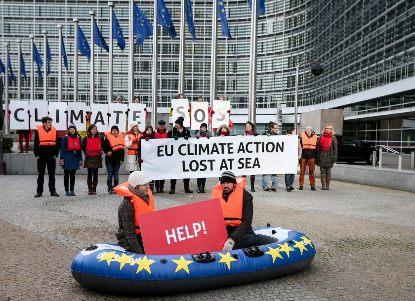 Green activists demonstrate in front of the European commission headquarters in Brussels, Belgium. European Commission released a White Paper outlining its proposal for 2030 EU climate and energy policy on Jan. 22.
