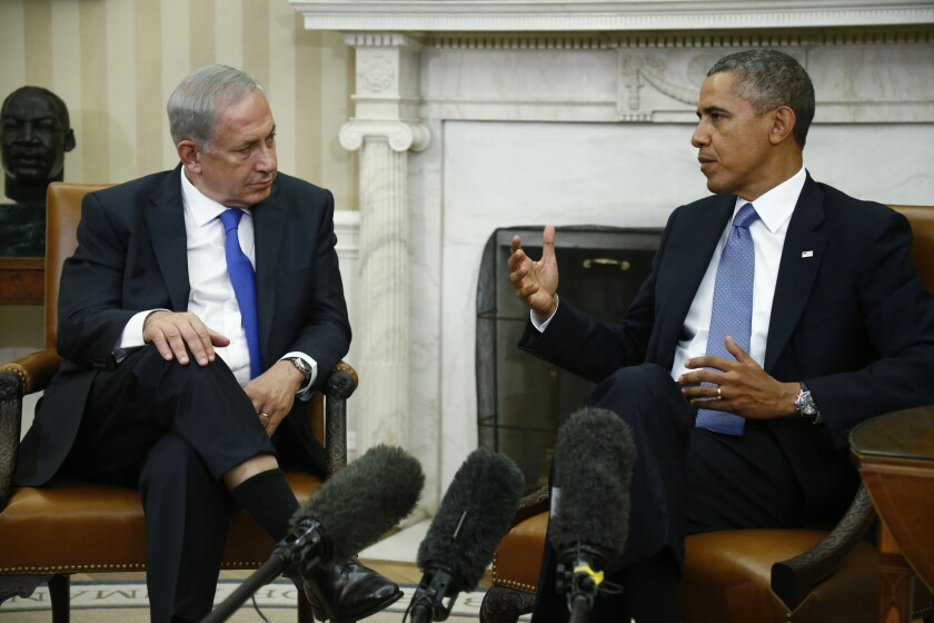 President Obama meets with Israeli Prime Minister Benjamin Netanyahu in the Oval Office at the White House in Washington. In statement after statement, Obama and Netanyahu continue to articulate an identical goal: Iran must not have nuclear weapons.