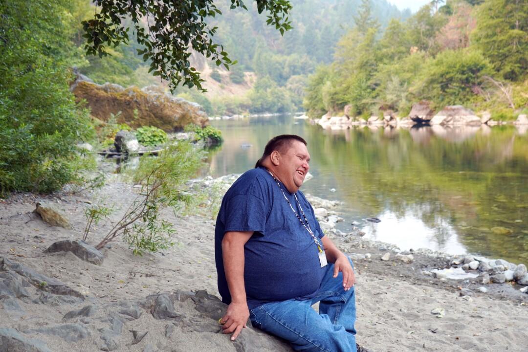 Troy Hockaday, a Karuk tribe member, on a ridgeline overlooking Klamath and Salmon rivers.