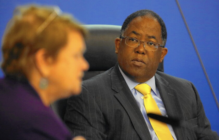 A feud between Supervisor Mark Ridley-Thomas, pictured, and former CEO William T Fujioka helped spur a return to a weaker CEO.