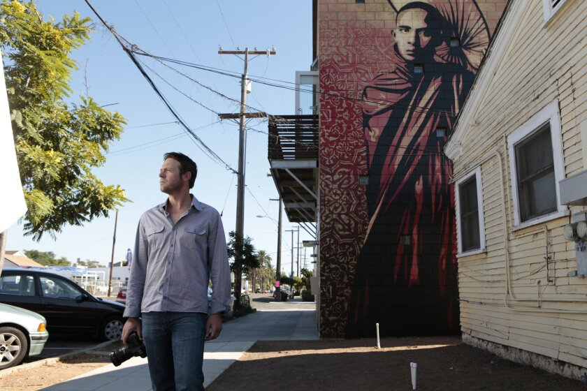 FilmmakerJeffrey Durkin is working on a documentary about public art and which includes Shepard Fairey, shown  in South Parkon Friday, August 20, 2010.  Photo by K.C. Alfred/The San Diego Union-Tribune