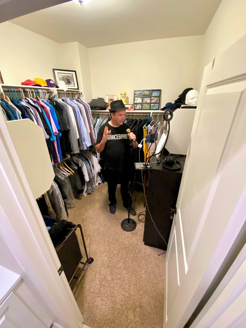 Chris Maddox, 47, records songs as The Crisis Crooner in the closet of his Carlsbad home.