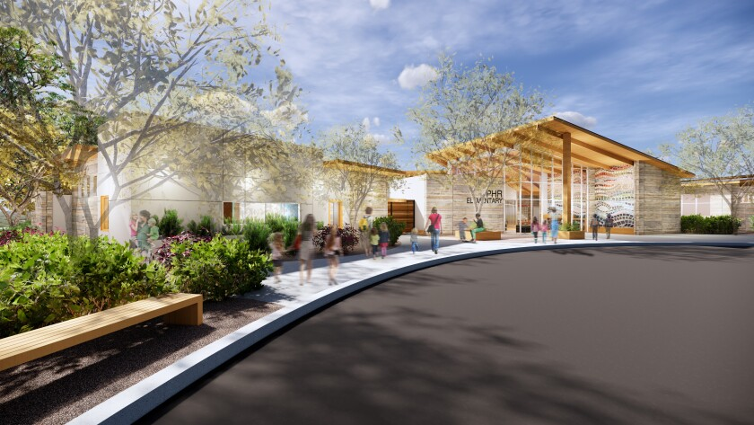 A rendering of the entrance to the new Pacific Highlands Ranch school.