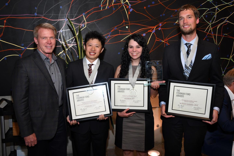The first Fishman Fund awardee (2012) Hudson Freeze, Ph.D.; Jia (Zack) Shen, Ph.D. (Fishman Fund Career Development Award recipient); Joana Borlido, Ph.D. (Fishman Fund Fellowship Award recipient); Bernhard Lechtenberg, Ph.D. (Fishman Fund Career Development Award recipient)