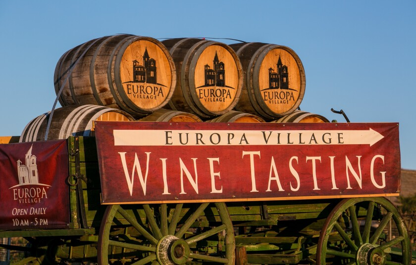 The entrance to Europa Village in Temecula.