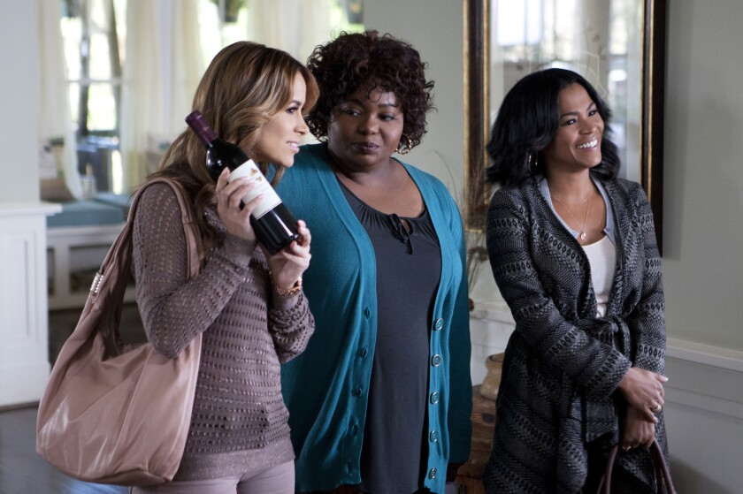 """Zulay Henao, left, Cocoa Brown and Nia Long in Tyler Perry's """"The Single Moms Club."""""""