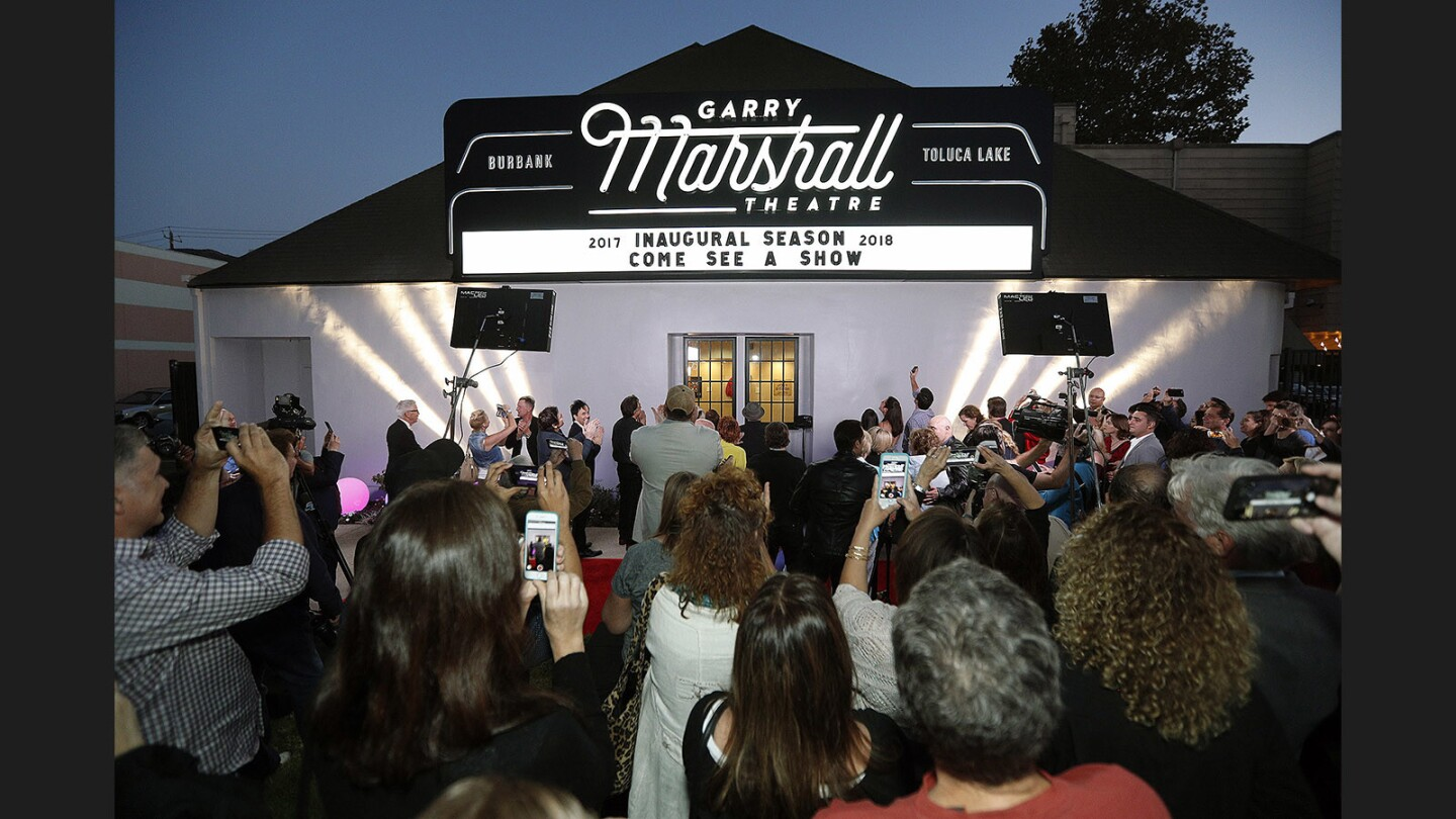The marquee is lit at the official lighting of the marquee for the new Garry Marshall Theatre in Burbank on Thursday, September 21, 2017. Roughly 200 people, many who were involved with Garry Marshall productions over the years, attended.
