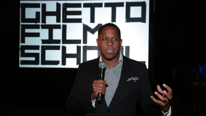 Tony Brown, executive director of Heart of Los Angeles, speaks at an event for nonprofit Ghetto Film School.
