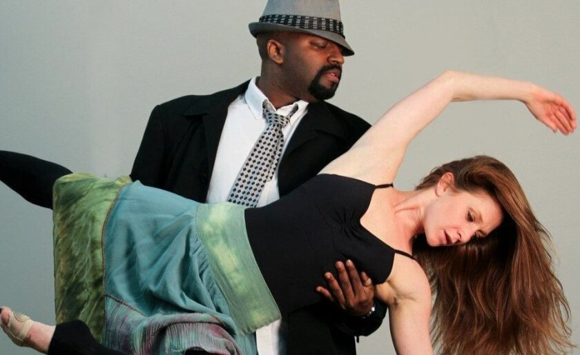 "Durwood Murray and Dana Fares in ""M,"" part of New Village Arts Theatre's New Play Festival."