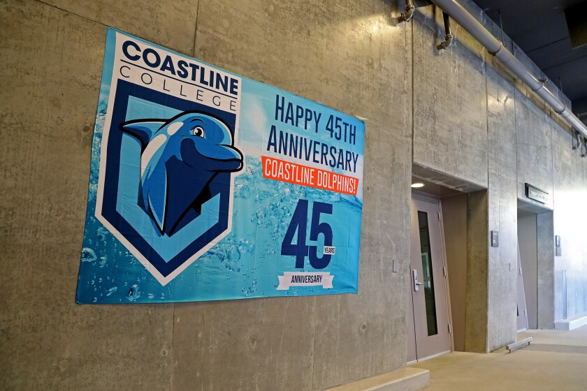 Coastline College is celebrating its 45th anniversary by launching its new mascot, the Dolphins.