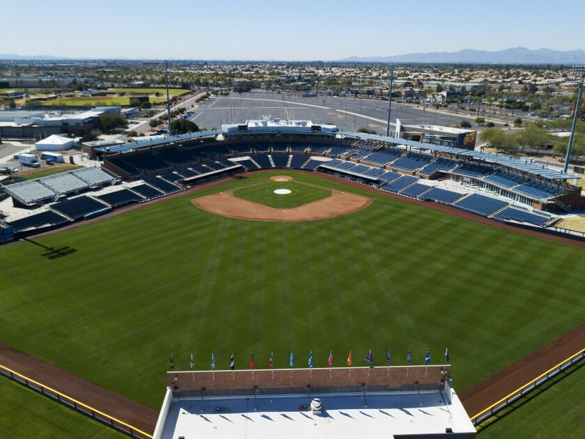 Fans will watch the Padres and Mariners play at Peoria Stadium.