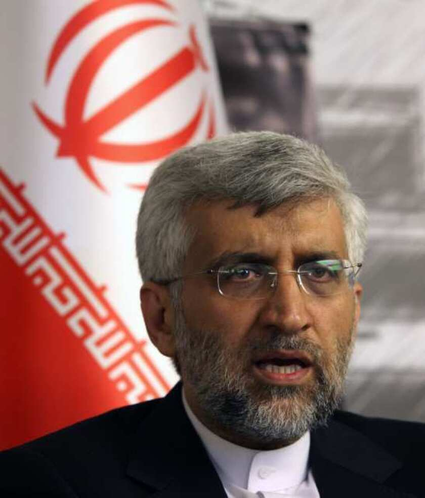 Iran's Chief Nuclear Negotiator Saeed Jalili speaks to The Associated Press after day-long talks with six world powers in Istanbul, Turkey.