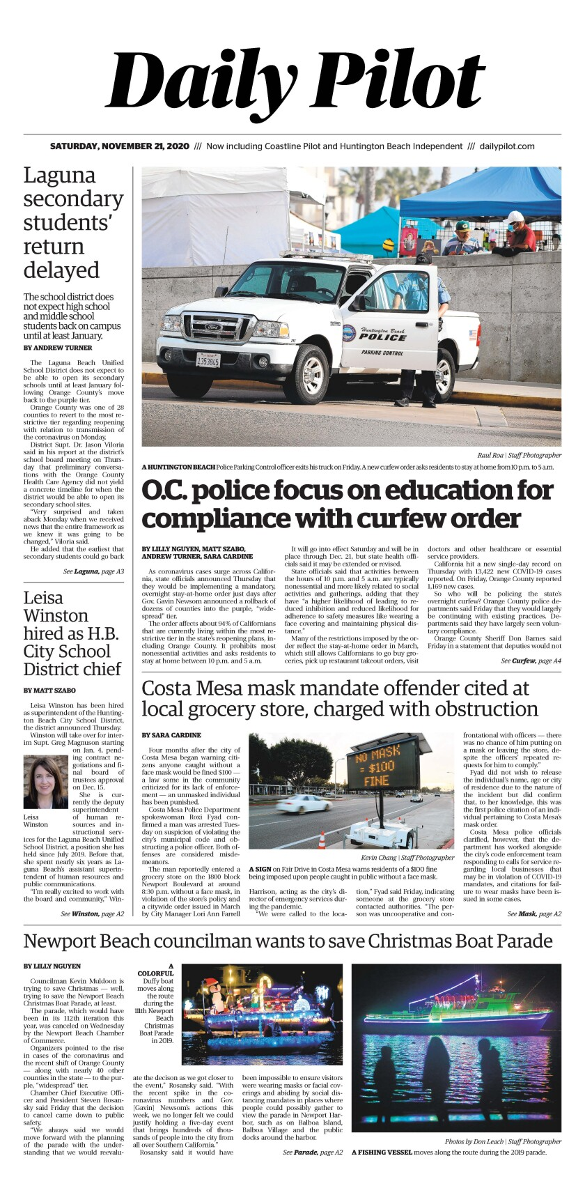 Front page of Daily Pilot e-newspaper for Saturday, Nov. 21, 2020