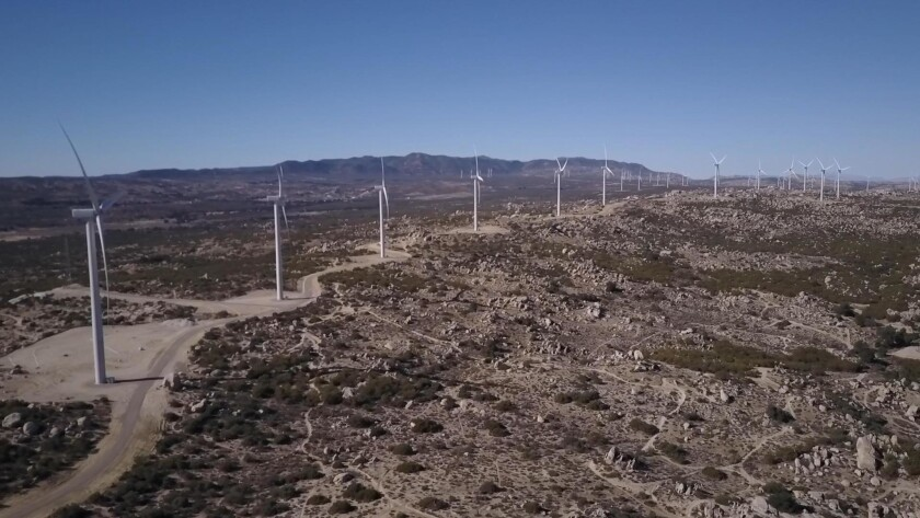 One of the strings of wind turbines on the Tule Wind Project, positioned on an optimum spot to gather wind, along the ridge line of the McCain Valley.