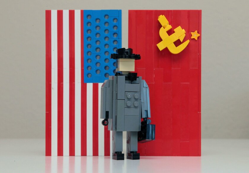 """The Lego sculpture above, by Klaus Neyer, 15, depicts the movie """"Bridge of Spies."""""""