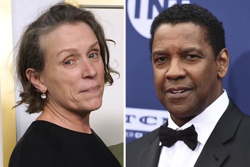 En esta combinación de fotografías Frances McDormand y Denzel Washington