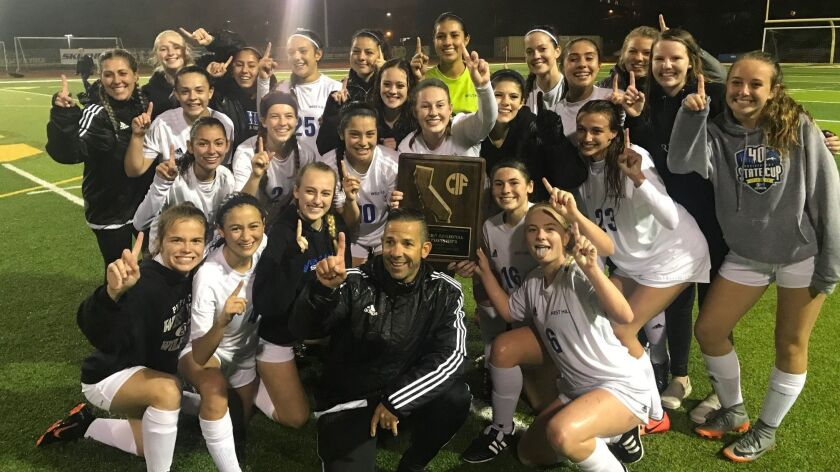 the West Hills 2019 champion girls soccer team.