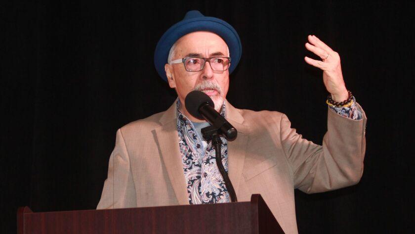 U.S. Poet Laureate Juan Felipe Herrera addresses a crowd at The Bishop's School, Jan. 25.