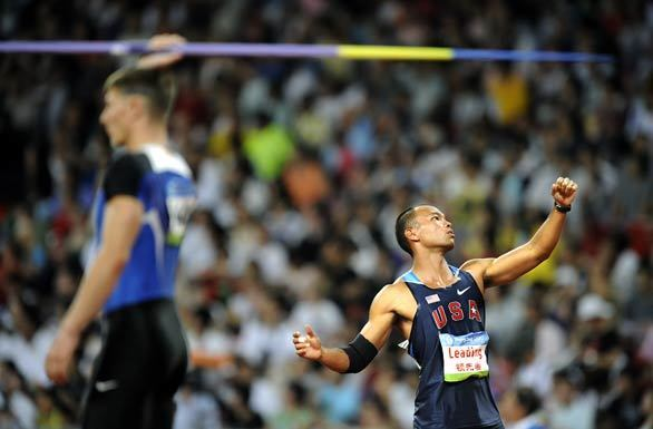 Bryan Clay of the U.S. prepares for a javelin throw during competition in the men's decathlon at the 2008 Beijing Olympics. Clay won the gold medal.