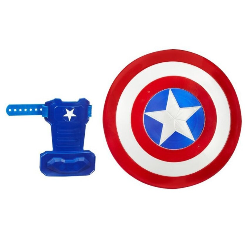 This photo provided by Hasbro Inc. shows Marvel's Captain America: Civil War Captain America Blaster Reveal Shield for children age 5 and up. Young heroes can use the shield to fend off enemies or press the star button on front and reveal a hidden blaster that launches Nerf darts. (Hasbro Inc. via AP)