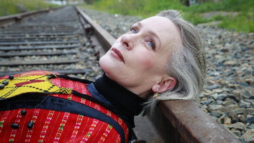 SAN DIEGO, CA March 19th, 2019 | Textile artist Irma Sofia Poeter poses for photos on the Desert Lin