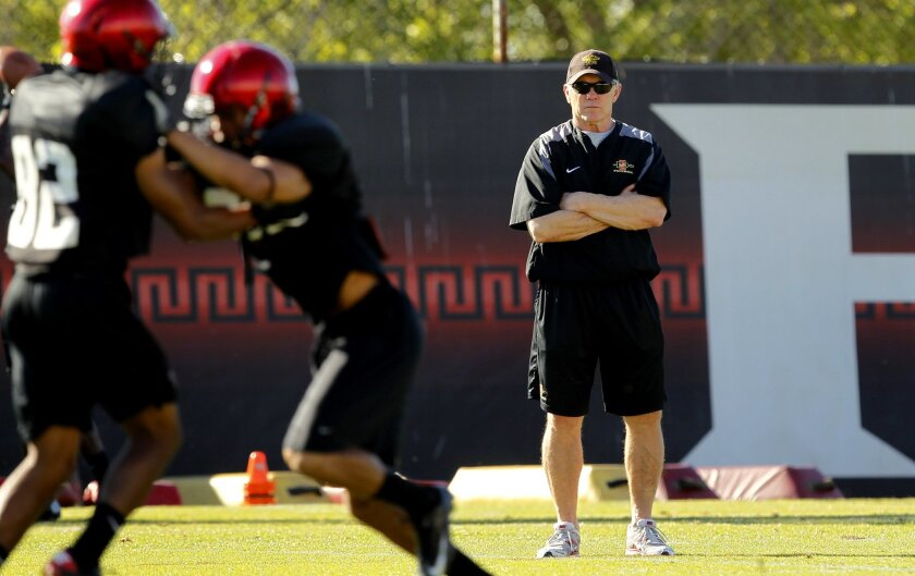 SDSU coach Rocky Long looks on during practice.