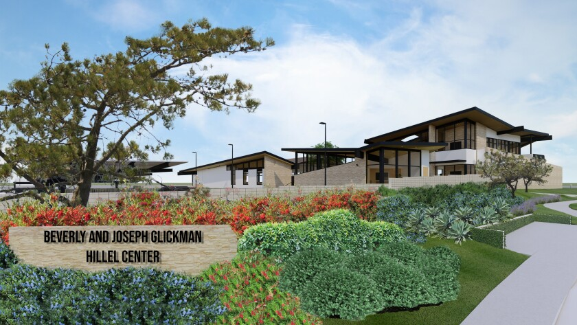A rendering depicts the planned Beverly and Joseph Glickman Hillel Center across from UC San Diego in La Jolla.