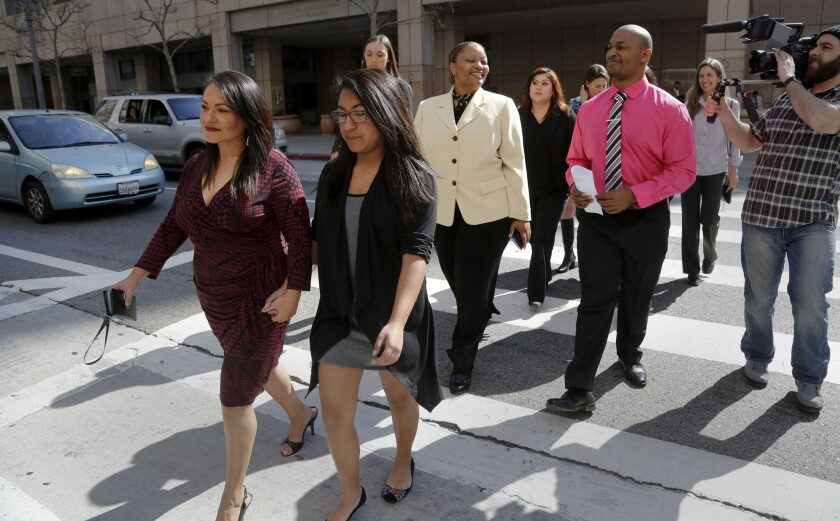Most of the nine student plaintiffs in the Vergara v. State of California walk away from the 2nd District California Court of Appeal in Los Angeles after the first morning of oral arguments in the appeal of the teacher tenure lawsuit.