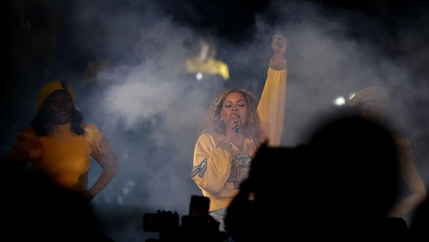 INDIO, CALIF. - APR. 13, 2018. Beyonce performs at the Coachella Music and Arts Festival in Indio o