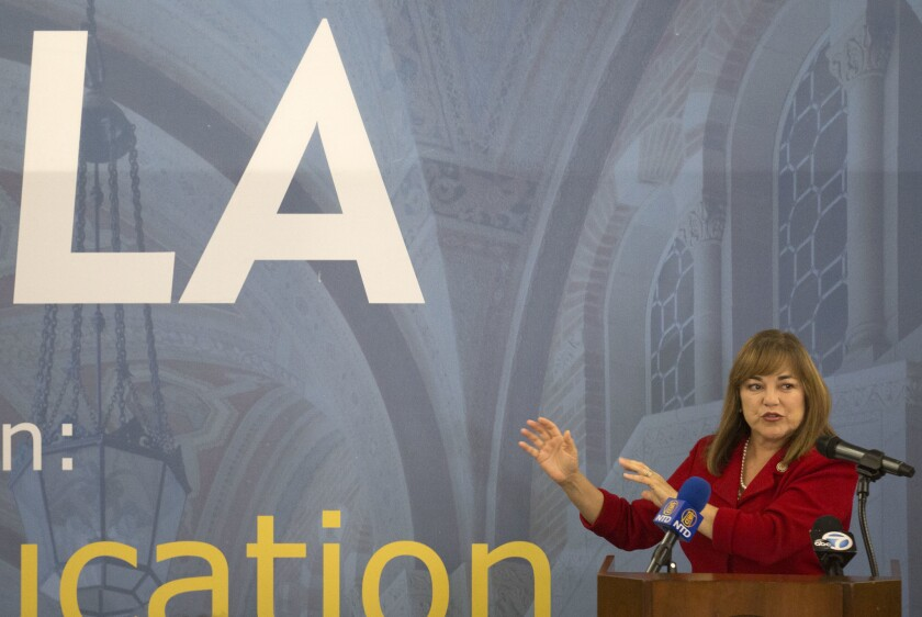 Senate candidate Loretta Sanchez speaks at a UCLA luncheon with students, alumni and faculty on campus last week.