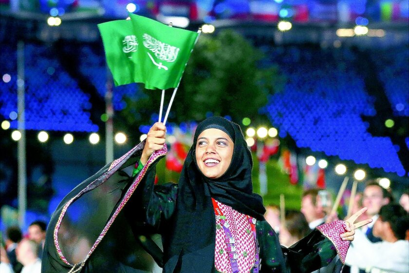 Sarah Attar of Escondido will be running the 800 meters for Saudi Arabia. Getty Images