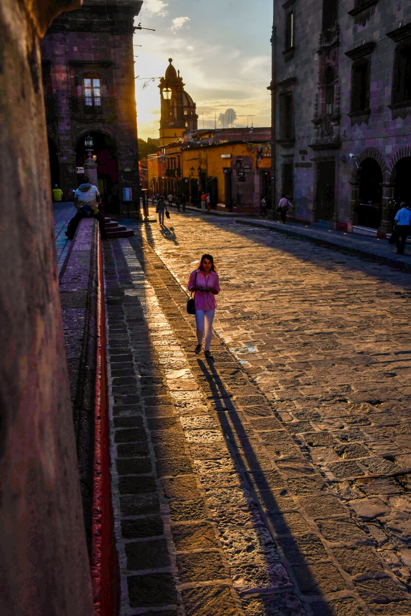 Sunset on Calle Canal near El Jardin, the central plaza of San Miguel de Allende