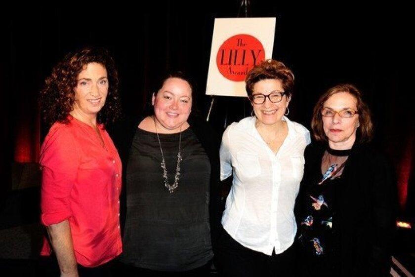 Julia Jordan, Rebecca Stump (of the Dramatists Guild), Lisa Kron and Marsha Norman (left to right).