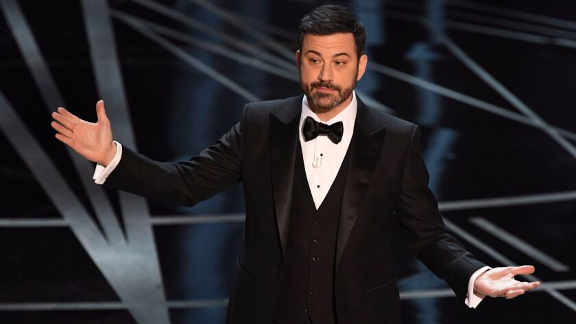 Jimmy Kimmel is shown hosting the 89th Academy Awards in February.