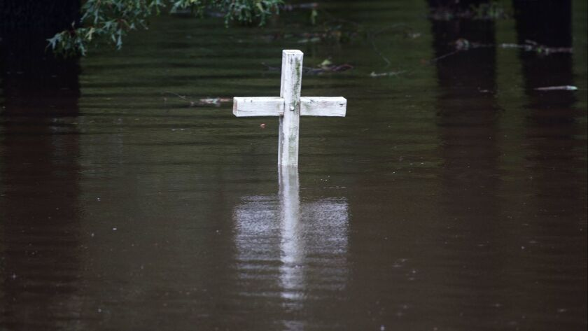 A flooded cemetery in Grifton, N.C., on Sept. 16, 2018.
