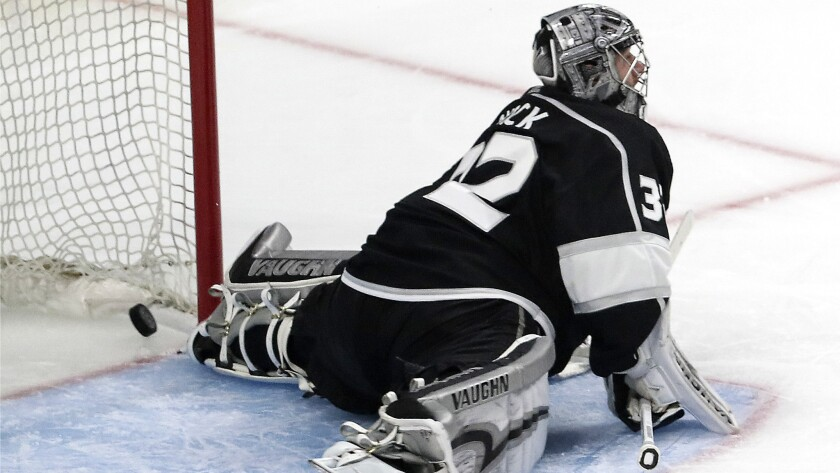 LOS ANGELES, CA, TUESDAY, APRIL 17, 2018 - The puck squirts past Kings goalie Jonathan Quick for a s