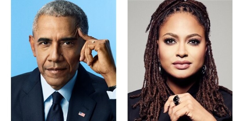 Former President Barack Obama (Pari Dukovic) and Filmmaker Ava DuVernay (ARRAY)