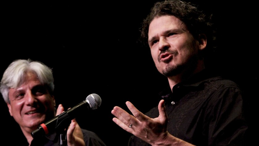 McSweeney's founder Dave Eggers, right, at the Los Angeles Times Festival of Books in 2011.