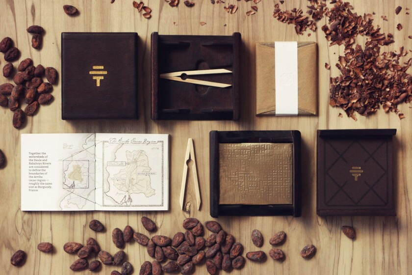 To'ak's $260 chocolate bar is presented in a box of Spanish elm, the same wood in which the cacao beans are fermented.