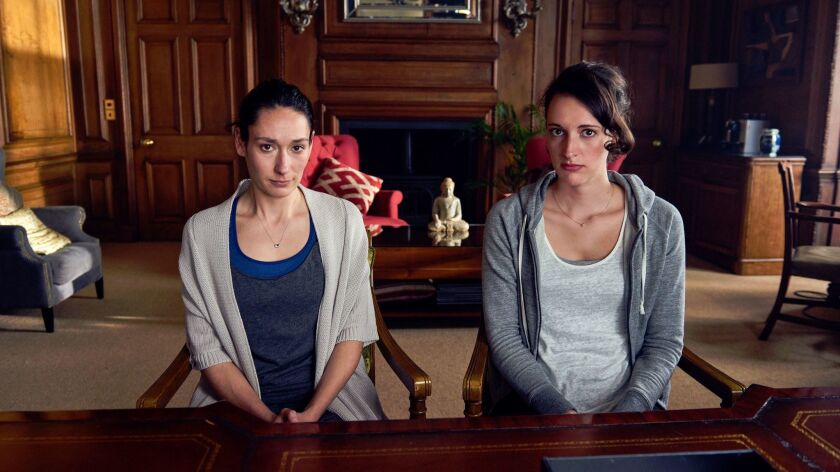 "Phoebe Waller-Bridge, right, and Sian Clifford in a scene from the series ""Fleabag."""