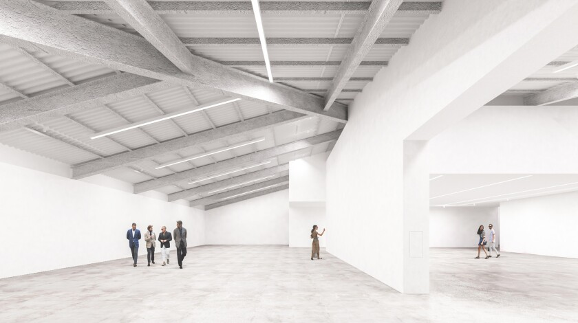 A rendering shows the inside of the Marciano Art Foundation, the permanent home for the collection of Guess co-founders Maurice and Paul Marciano, set to open in spring 2017.