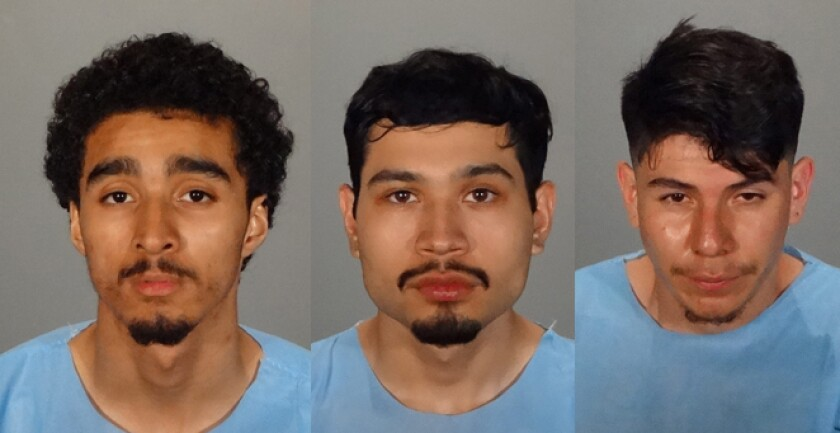 Vincent Goudeau, left, George Nunez and Kevin Morales were arrested by Glendale police on Aug. 27 on suspicion of committing a robbery and carjacking that took place the previous day. They were also allegedly found in possession of an illegal firearm.