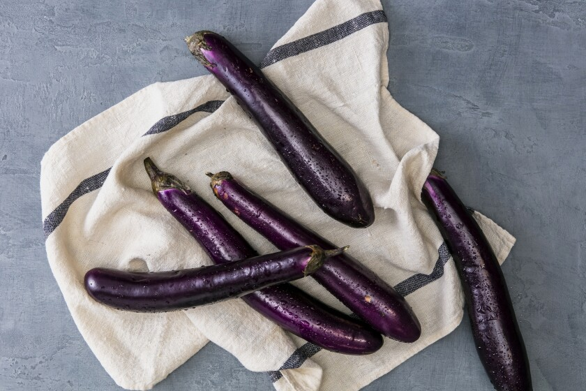 Chinese eggplant, a slender variety.