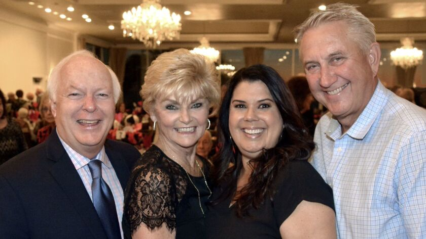 Former Burbank Mayor Bob Bowne and his wife Dianne, left, joined Darrell and Patricia Taylor for las
