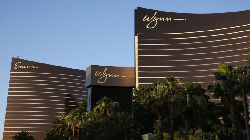 FILE - This June 17, 2014 file photo shows the Wynn Las Vegas and Encore resorts in Las Vegas, both